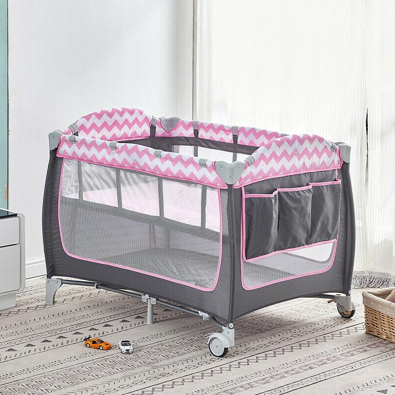 Portable Travel Crib Bed Playpen Infants