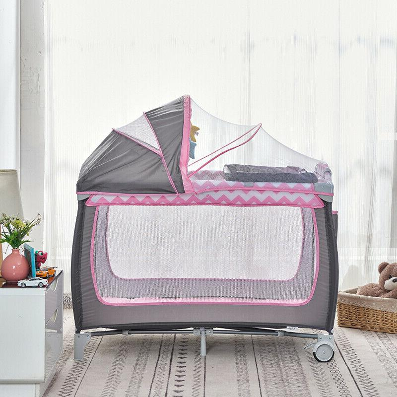 Portable Crib Playpen Infants with Mattress