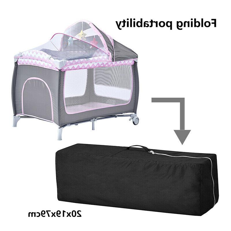 Portable Baby Cot Crib Infants with Mattress