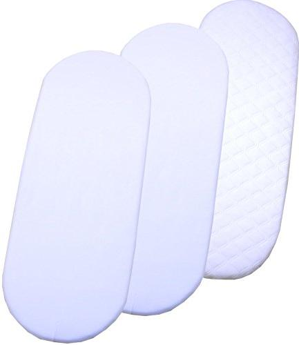 BabyPrem Baby Moses Bassinet Quilted Mattress /& 2 Fitted Sheets 70 x 40cm WHITE