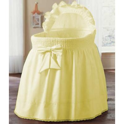 aBaby Smocked Bassinet Skirt, Yellow, Large