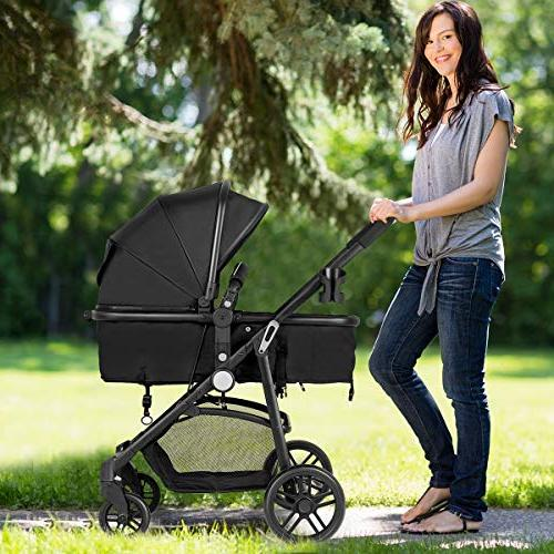 Costzon In 1 Carriage Bassinet Stroller, Pushchair with Holder, Large Space, Wheels