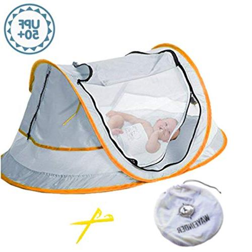 Wayfinder TravelTot UV Protection w//Mosquito Net and 2 Pegs Green//Yellow Baby Travel Tent Portable Baby Travel Bed Indoor /& Outdoor Travel Crib Baby Beach Tent UPF 50