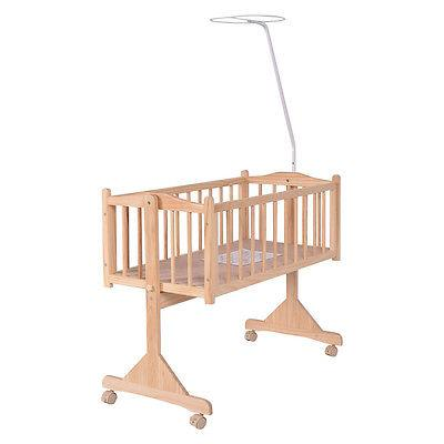 Wood Baby Cradle Crib Born Portable Nursery Yellow