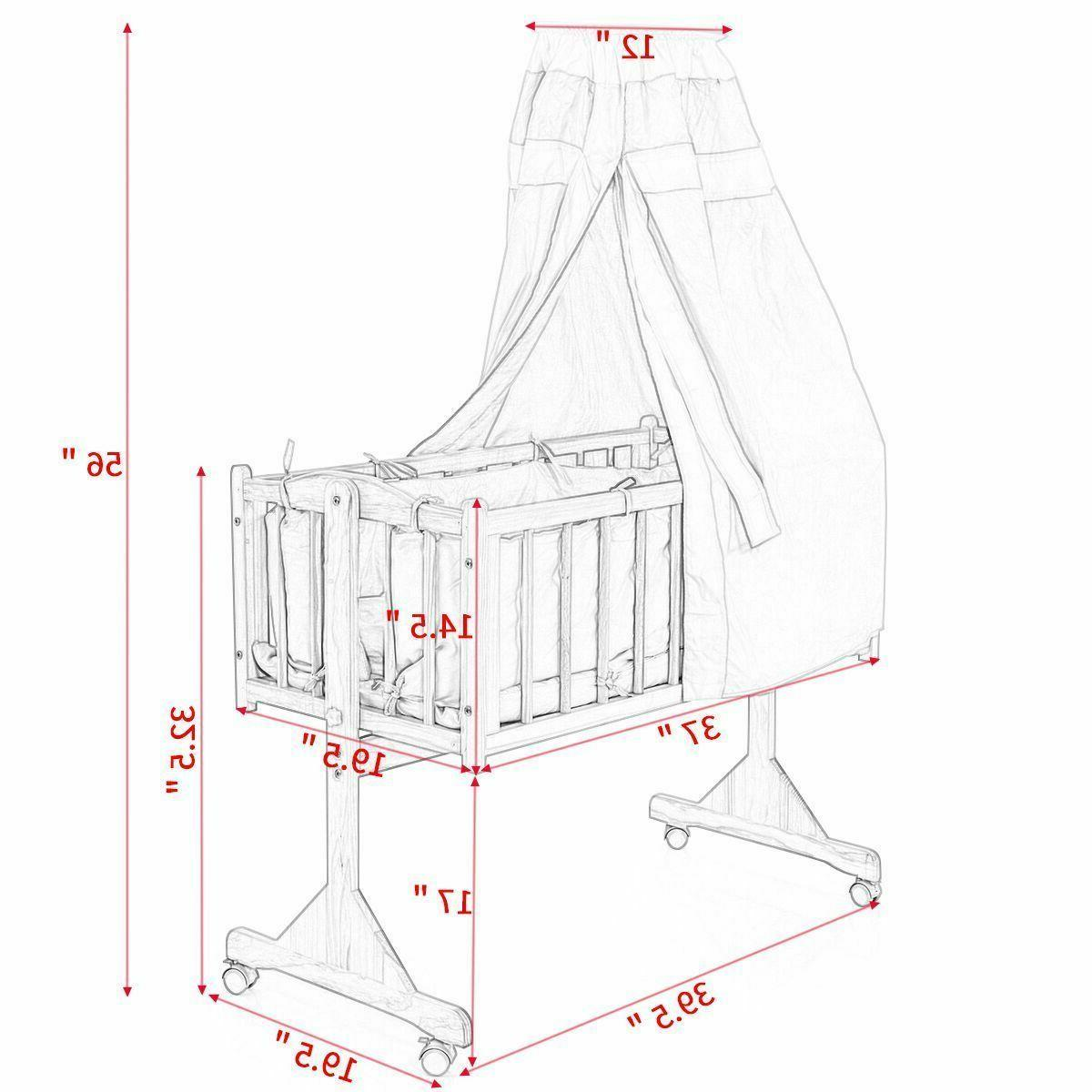 Wood Bed Baby Cradle Bassinet Space Safe Crib Nursery Infant +