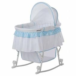 Dream On Me Lacy Portable 2-in-1 Bassinet And Cradle, Blue/W