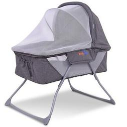 Lightweight Foldable Baby Bassinet Rocking Bed with Mosquito