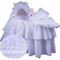 aBaby Little Angel Bassinet Skirt, White, Small