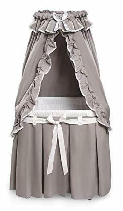 Badger Basket Majesty Baby Bassinet with Canopy, Gray and Wh