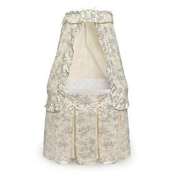 Majesty Bassinet with Canopy - Black Toile