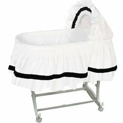 aBaby Modern Style Short Bassinet Skirt, Black, Small