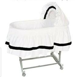 aBaby Modern Style Short Bassinet Skirt, White & Black ~ Sma
