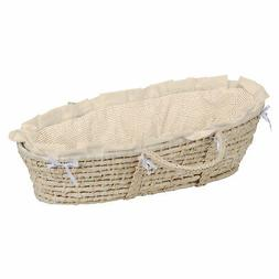 Natural Moses Basket with Ecru or Beige Gingham Bedding