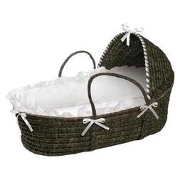 Moses Hooded Basket in White and Espresso Portable Baby Bask