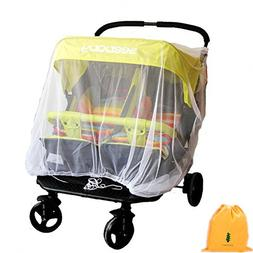 Mosquito Net for Baby Double Strollers,Carriers, Cradles, Ca