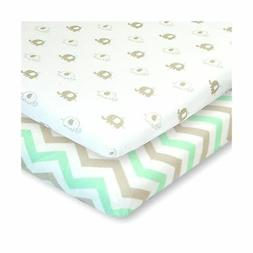 Bassinet Sheets Set 2 Pack for Boy & Girl by Cuddly Cubs | S