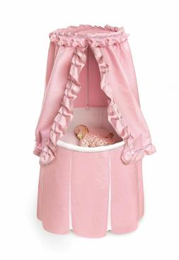NEW! Baby Girl Bassinet with Canopy White and Pink Bedding