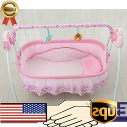 Pink Electric Baby Crib Cradle Auto Rocking Chair Newborns B