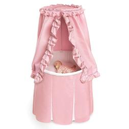 Pink Baby Bassinet Round Cradle Canopy Cover Crib Skirted Nu