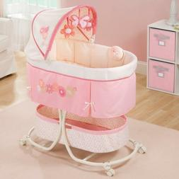 Pink Infant Bassinet With Soothe & Sleep Motion Canopy Plays
