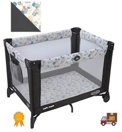 Foldable Playard Baby Crib Bassinet Travel Portable Bed Play