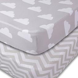 Playard Sheets, 2 Pack Clouds/Chevron Fitted Soft Jersey Cot
