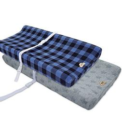 Plush Changing Pad Cover Cradle Bassinet Sheets 2 pack navy