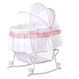 Portable 2-in-1 Bassinet With Hooded Locking Wheels & Basket