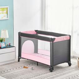 Portable Baby Travel Cot Crib Bassinet Bed Infants Mattress