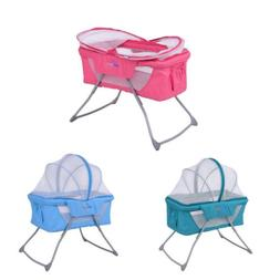 Foldable Lightweight Baby Toddler Bassinet Rocking Bed w/ Mo
