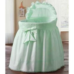 aBaby Smocked Bassinet Skirt, Mint, Small