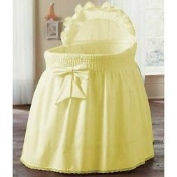 aBaby Smocked Bassinet Skirt, Yellow, Small