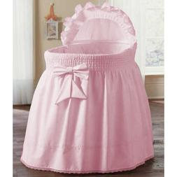 aBaby Smocked Bassinet Skirt, Pink, Small
