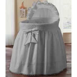 aBaby Smocked Bassinet Skirt, Grey, Small