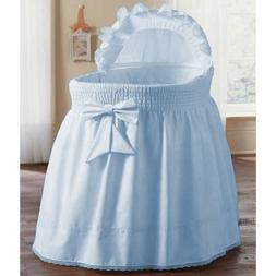 aBaby Smocked Bassinet Skirt, Blue, Small