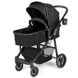 Costzon Baby Stroller, 2 In 1 Convertible Carriage Bassinet