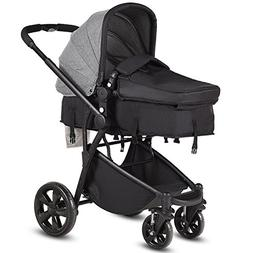 Costzon Infant Stroller, 2-in-1 Foldable 4-Wheel Baby Toddle