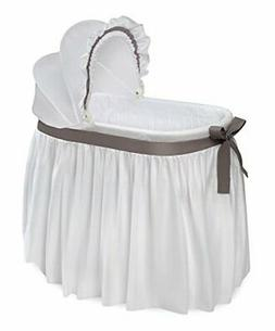 Wishes Oval Baby Infant Bassinet Full Length Skirt w/White &