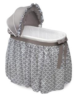 Wishes Oval Bassinet With Full Length Skirt in Gray Lantern