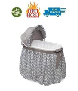 Wishes Oval Rocking Baby Bassinet with Bedding Storage and P