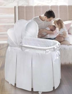 Wishes Oval Rocking Baby Bassinet with Bedding, Storage, and