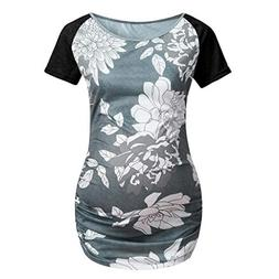 Women's Maternity Patchwork Floral Short Sleeves Top Pregnan