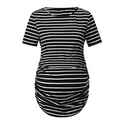 Women's Maternity Stripe Short Sleeves T-Shirt O-Neck Basic