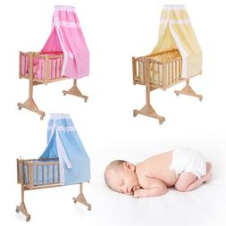 Wood Bed Baby Cradle Bassinet Space Safe Crib Nursery Infant